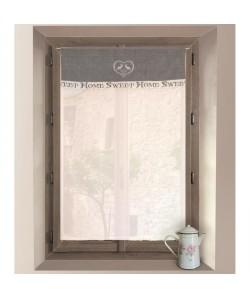SOLEIL D\'OCRE Brisebise brodé Sweet Home 100% coton 60x90 cm gris et blanc