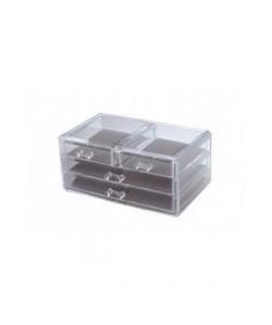 GERSON Boîte a bijoux 4 tiroirs  24x15x10,5 cm  Transparent