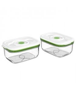 FOSA Lot de 2 récipients de mise sous vide alimentaire 1450 ml blanc et vert