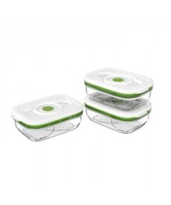 FOSA Lots de trois récipients de mise sous vide alimentaire 1000 ml blanc et vert