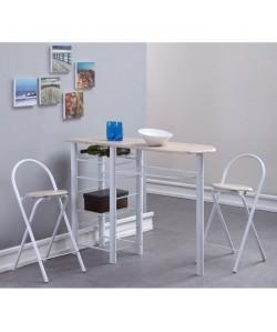 FIRST Table bar en métal et MDF 2 personnes 120x40 cm  2 tabourets  Décor chene et blanc