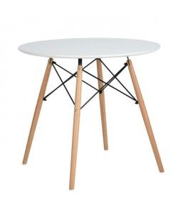 MADDIE Table a manger ronde de 2 a 4 personnes scandinave  Blanc laqué et pieds hetre massif  L 80 x l 80 cm