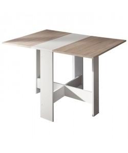 CURRY Table a manger pliante de 4 a 6 personnes contemporain mélaminée blanc, décor chene  L 103 x l 76 cm