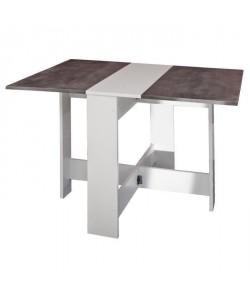 CURRY Table a manger pliante de 4 a 6 personnes style contemporain blanc mat et décor béton  L 103 x l 76 cm