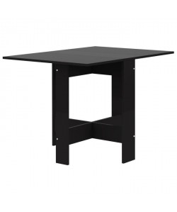 CURRY Table a manger pliante de 4 a 6 personnes style contemporain noir mat  L 103 x l 76 cm