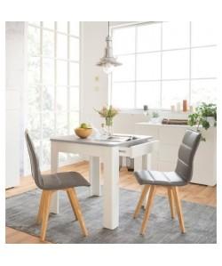 OSLO Table a manger carrée de 2 a 4 personnes style contemporain effet béton et blanc  L 80 x l 80 cm