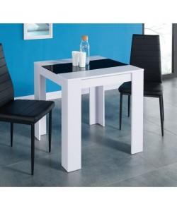 DAMIA Table a manger de 2 a 4 personnes style contemporain blanc et noir mat  L 75 x l 75 cm