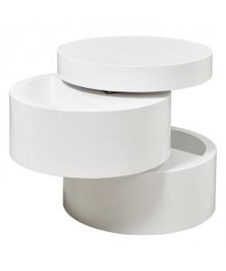 VIGAN Table basse ronde style contemporain blanc mat  L 50 x l 50 cm
