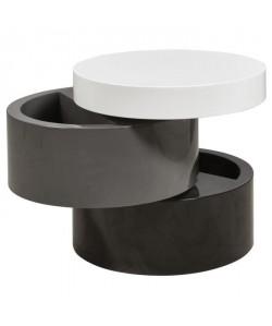 VIGAN Table basse ronde style contemporain noir, gris et blanc mat  L 50 x l 50 cm