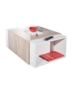 CHARLY Table basse transformable style contemporain blanc et décor chene  L 120 x l 38,5 cm