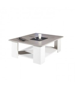 LIME Table basse style contemporain blanc et taupe  L 89 x l 67 cm
