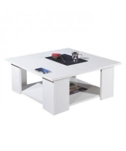 LIME Table basse carrée style contemporain mélaminée blanc  L 67 x l 67cm