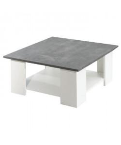 LIME Table basse style contemporain mélaminée blanc et décor béton  L 67 x l 67 cm