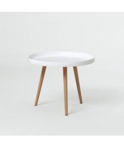 NORDIC Table basse ronde scandinave laquée blanc  pieds en bois hetre massif  Ř 60 cm