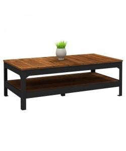 INDUSTRIE Table basse style industriel effet bois et noir mat  L 117 x l 59 cm