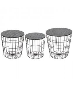 AUSTRAL 3 tables basses rondes style contemporain en métal noir  D 35 cm  40 cm et 45 cm