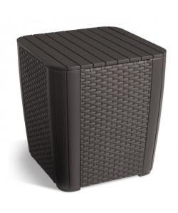 ALLIBERT JARDIN Table cube avec rangement  Imitation rotin tressé  Marron