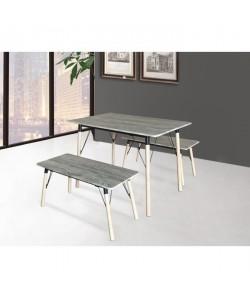 BRANTFORD Ensemble table et chaises de 4 a 6 personnes contemporain en métal ivoire et MDF gris  L 110 x l 70 cm