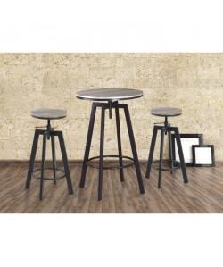 HALIFAX Ensemble mange debout et tabouret de 2 a 4 personnes industriel en métal noir et MDF décor chene  L 60 x l 60 cm