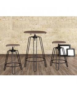 WINDSOR Ensemble mange debout et tabourets de 2 a 4 personnes industriel en métal noir et MDF décor chene  L 60 x l 60 cm