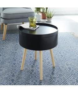 CANDY Table d\'appoint ronde scandinave noir laqué  L 38 x l 38 cm