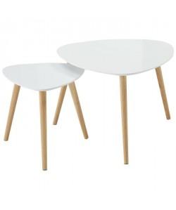 CARA Lot de 2 tables d\'appoint scandinave laqué blanc brillant  L 60 x l 60 cm et L 40 x l 40 cm
