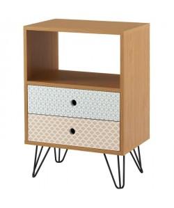 COLETTE Table d\'appoint vintage décor chene et imprimé  pieds métal noir laqué  L 45 x l 29 cm