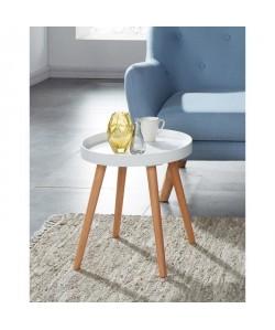 ELLIOT Table d\'appoint ronde 40x40 cm  Laqué blanc satiné