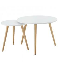 LOLA Lot de 2 tables d\'appoint scandinave laqué blanc mat  L 60 x l 60 cm et L 40 x l 40 cm