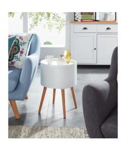 Zoe Table d\'appoint ronde style scandinave laqué blanc satiné  L 38 x l 38 cm