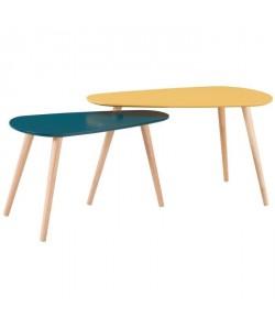 GALET Lot de 2 tables gigognes contemporain jaune moutarde et bleu canard laqués mat  L 81,5 x l 41 cm et L 67 x l 34 cm
