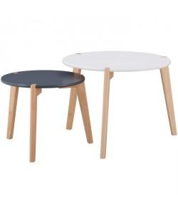 GALET 2 tables gigognes style scandinave blanc et noir laqués mat  L 60 x l 60 cm et L 45 x l 45 cm