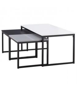 SQUARE 3 tables gigognes style contemporain blanc, noir et gris laqués mat  L 100 x l 50 cm et 2 x L 47 x l 45 cm