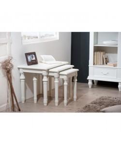 Tables gigogne LISE en bois blanc  Classique  3 pieces
