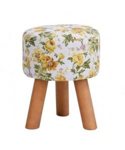 ROWENA Tabouret de salon en bois massif  Revetement tissu jaune fleuri  Scandinave  L 30 x P 30 cm