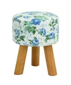 ROWENA Tabouret de salon en bois massif  Revetement tissu bleu fleuri  Scandinave  L 30 x P 30 cm