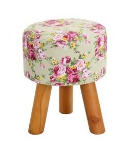 ROWENA Tabouret de salon en bois massif  Revetement tissu rose fleuri  Scandinave  L 30 x P 30 cm