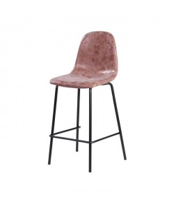 VINTE Tabouret de bar  Simili marron  Industriel  L 39,5 x P 47,5 cm