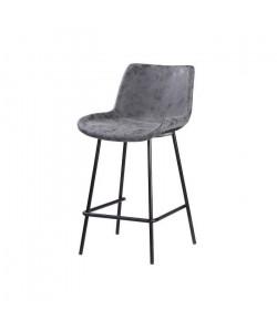 Tabouret de bar pieds en métal noir  Revetement simili PU gris anthracite  Industriel  L 54 x P 57,5 cm