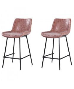 Lot de 2 tabourets de bar pieds en métal noir  Revetement simili PU marron  Industriel  L 54 x P 57,5 cm