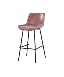 Tabouret de bar pieds en métal noir  Revetement simili PU marron  Industriel  L 54 x P 57,5 cm