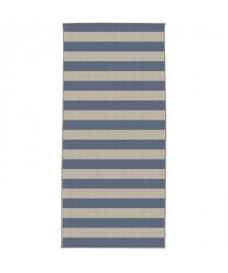 CARLTON Tapis de cuisine 67x140cm Laine & Bleu Rayure