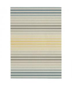 Tapis tissé plat Stripe 160x230 cm gris et jaune