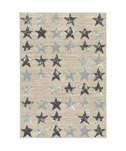 STARS Tapis de salon tissé plat et droit 100% polypropylene 80x150 cm beige et gris