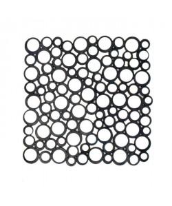 FRANDIS Tapis de fond d\'évier Bubble carré  Silicone  Noir