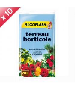 ALGOFLASH Lot de 10 sacs de Terreau horticole 20 L