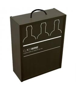 Caisse bois noire  Pour 3 bouteilles format Bordeaux