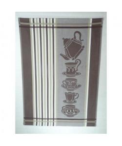 Lot de 6 torchons de cuisine Coralie café 50x710 cm