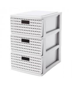 SUNDIS Tour de rangement Country A5 3 tiroirs 25,5x18x28,5 cm blanc