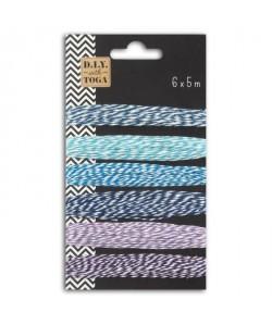 D.I.Y with Toga Lot de 6 ficelles bicolore 5m  nuance de bleu